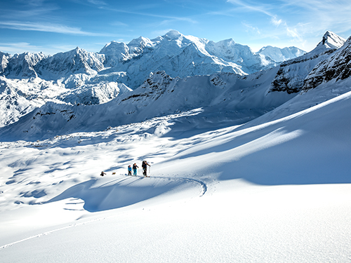 ski touring in courchevel 1850 with a ski instructor